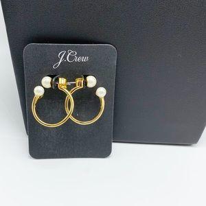 J. Crew Crystal and Pearl Mini Hoop Earrings